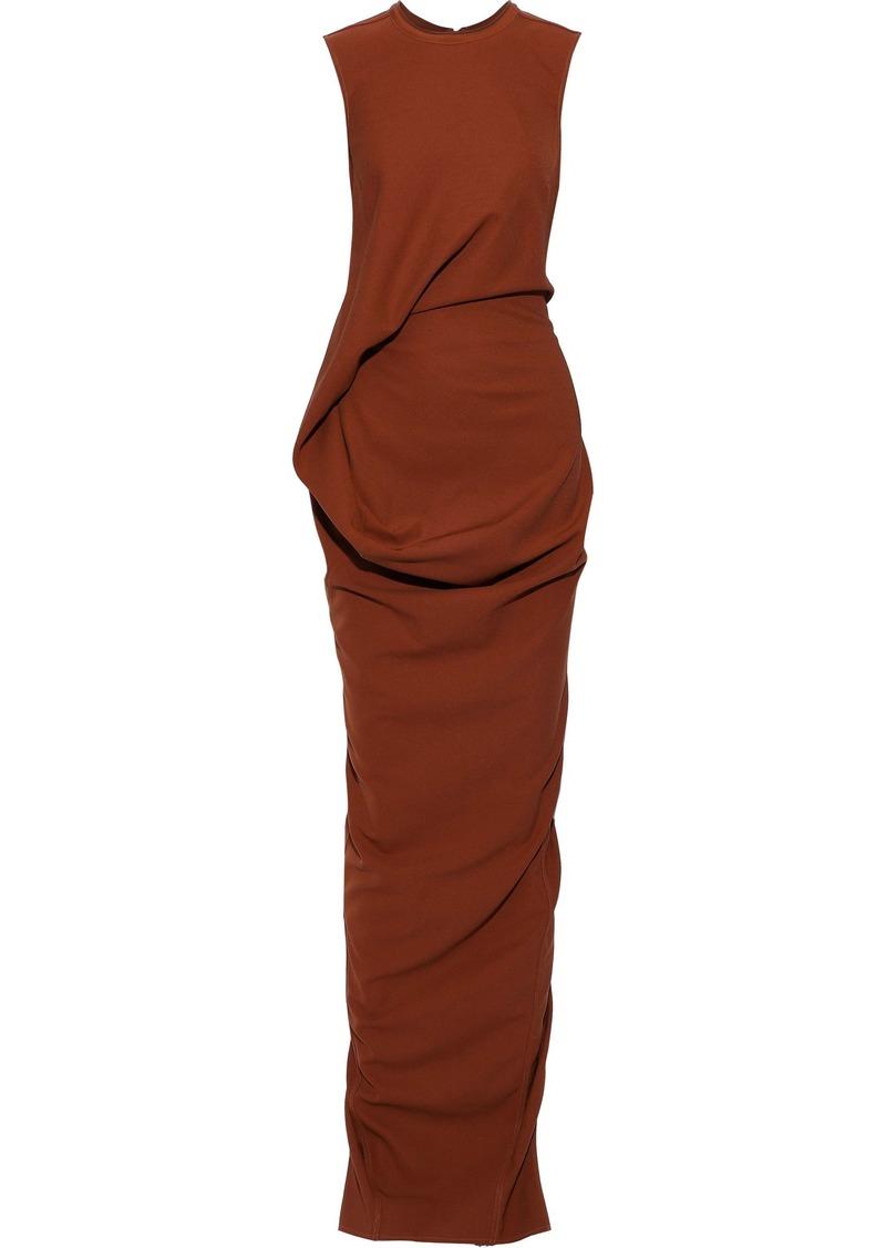 Rick Owens Woman Ellipse Split-back Draped Jersey Gown Brown