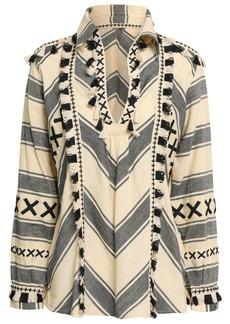Dodo Bar Or Woman Tasseled Striped Cotton-gauze Top Black