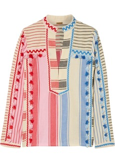 Dodo Bar Or Woman Tasseled Striped Cotton-gauze Top Multicolor