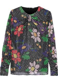 Dodo Bar Or Woman Veronica Embellished Floral-print Fil Coupé Silk-blend Chiffon Blouse Black