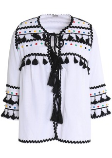 Dodo Bar Or Woman Yehuda Tassel-trimmed Studded Cotton-gauze Top White