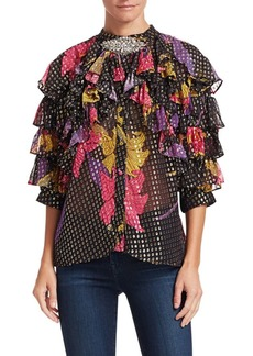 Dodo Bar Or Doris Ruffled Silk-Blend Embellished Blouse