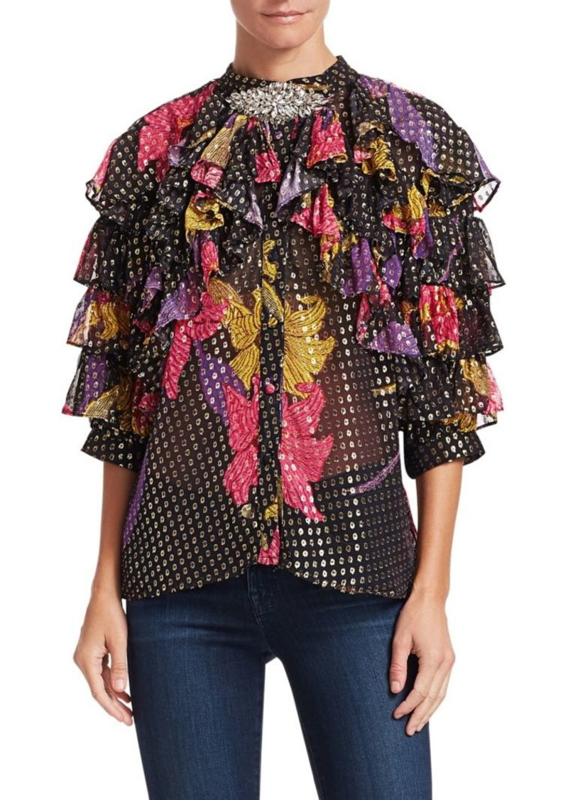 Dodo Bar Or Doris Ruffled Silk-Blend Embellished Blouse