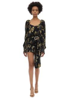 Dodo Bar Or Draped Buckle Velvet Jacquard Mini Dress