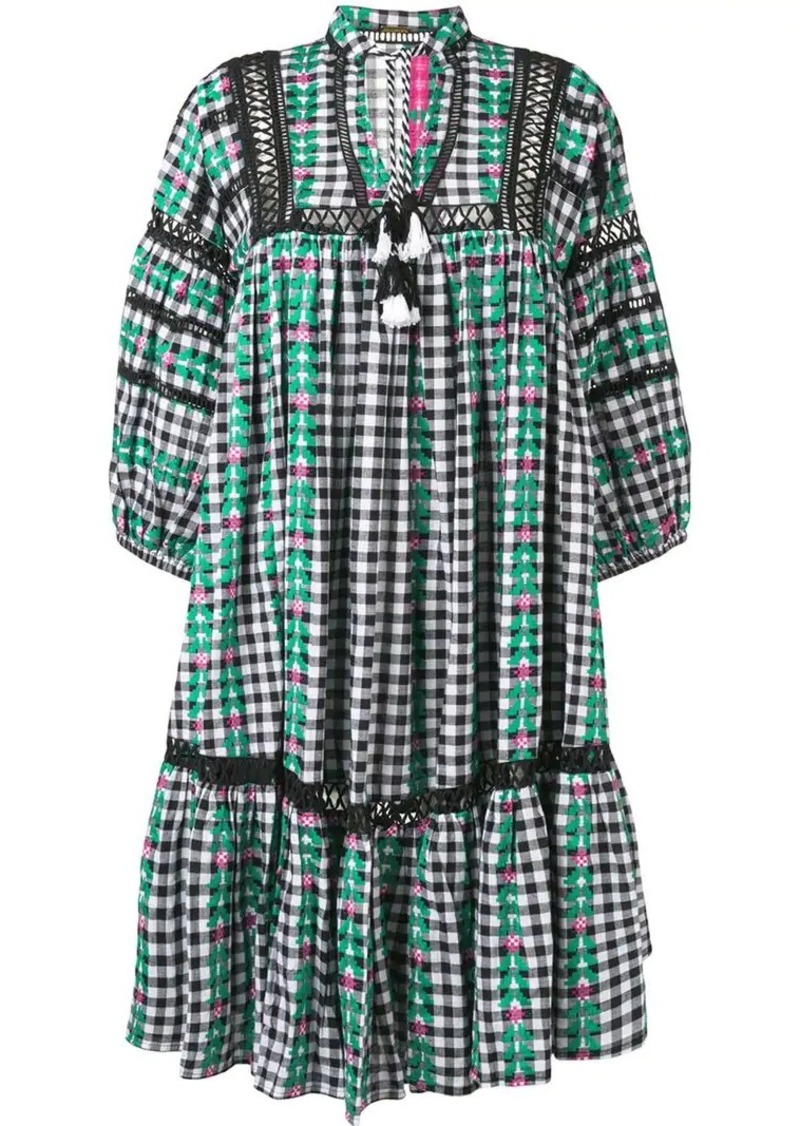 Dodo Bar Or Ida Dress.Embroidered Check Print Midi Dress