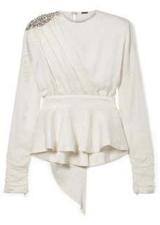 Dodo Bar Or Grace Crystal-embellished Silk-jacquard Peplum Blouse