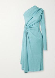 Dodo Bar Or Hannah One-sleeve Draped Ribbed Stretch-knit Midi Dress