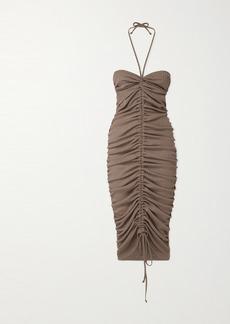 Dodo Bar Or Jessie Ruched Ribbed Stretch-jersey Halterneck Midi Dress