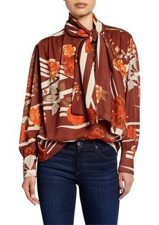 Dodo Bar Or Kelly Tie-Neck Floral-Print Shirt