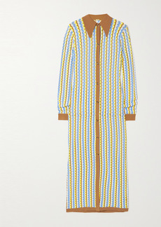 Dodo Bar Or Keshia Striped Pointelle-knit Shirt Dress