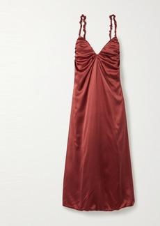 Dodo Bar Or Libi Gathered Silk-satin Midi Dress
