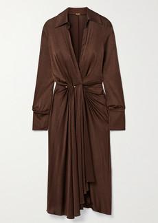Dodo Bar Or Lorenne Pleated Draped Stretch-satin Jersey Wrap Dress