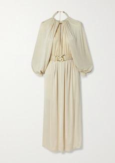 Dodo Bar Or Mika Belted Satin-crepe Midi Dress