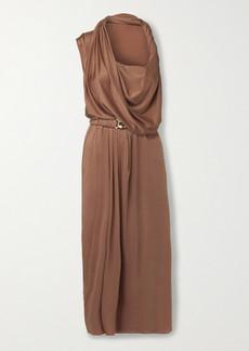 Dodo Bar Or Ora Belted Satin Midi Dress