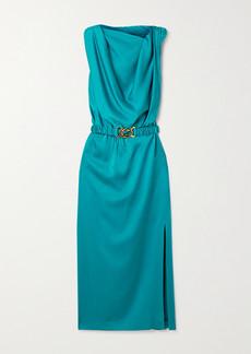Dodo Bar Or Orian Belted Draped Satin Midi Dress