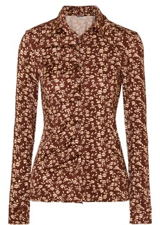 Dodo Bar Or Paya Ruched Floral-print Stretch-jersey Shirt
