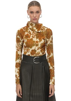 Dodo Bar Or Printed Velvet Turtleneck Top