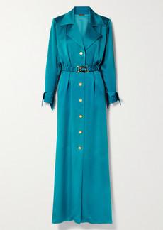 Dodo Bar Or Tamara Belted Satin Maxi Shirt Dress