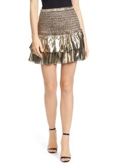 Dolan Eleanor Ruffle Metallic Silk Miniskirt