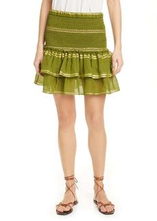 Dolan Eleanor Smocked Metallic Stripe Silk Blend Tiered Miniskirt