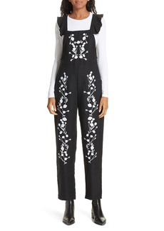 Dolan Flounced Embroidered Jumpsuit