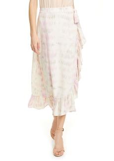 Dolan Mae Tie Dye Ruffle Wrap Skirt
