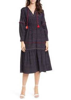 Dolan Marjorie Foulard Long Sleeve Midi Dress