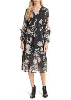 Dolan Ruffled Floral Midi Dress