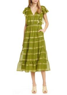 Dolan Sawyer Metallic Silk Midi Dress
