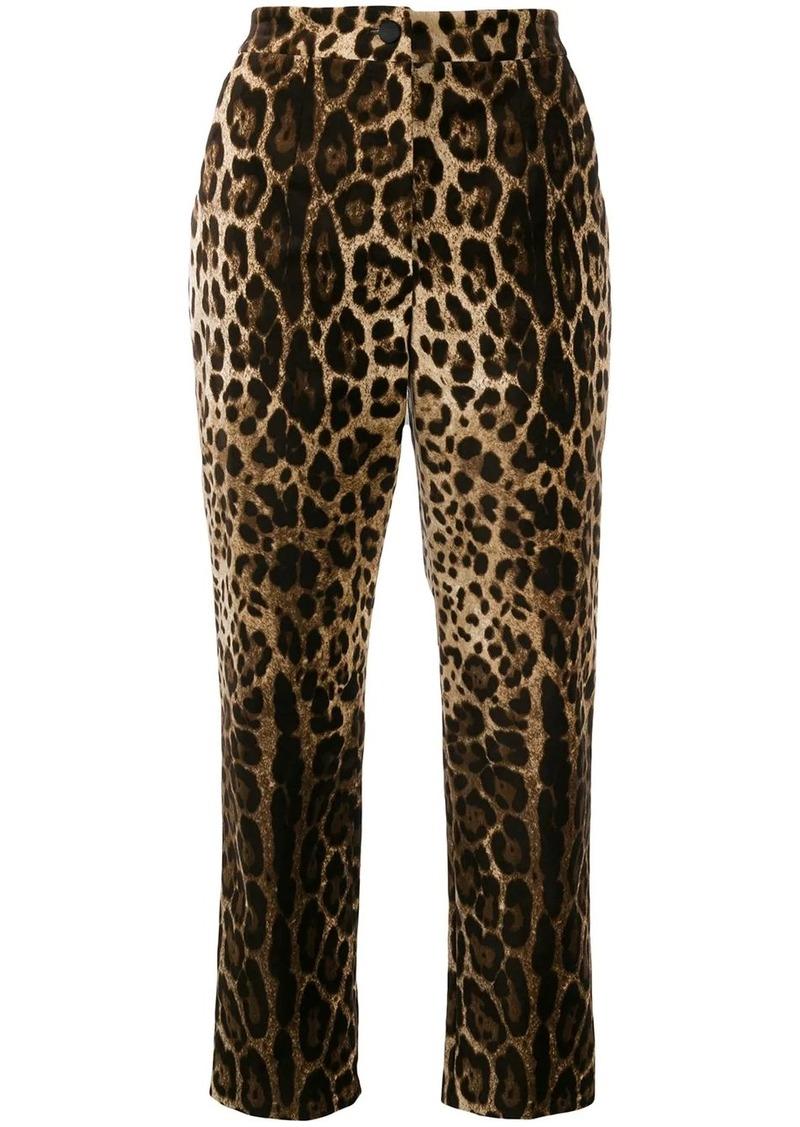 Dolce & Gabbana leopard print high-rise trousers