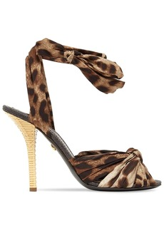 Dolce & Gabbana 105mm Leopard Twill Lace-up Sandals