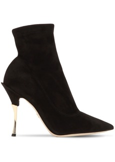 Dolce & Gabbana 105mm Stretch Suede Ankle Boots
