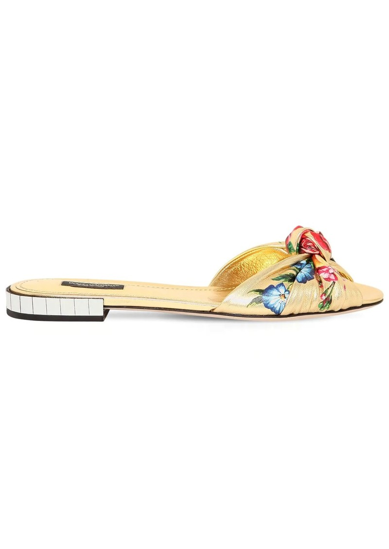 Dolce & Gabbana 10mm Printed Metallic Leather Sandals