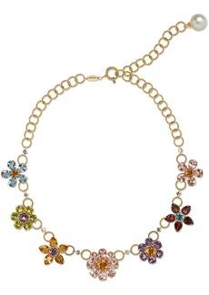 Dolce & Gabbana 18kt yellow gold embellished floral necklace