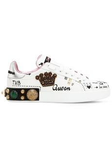 Dolce & Gabbana 20mm Portofino Crown Leather Sneakers