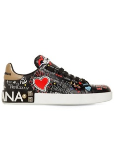Dolce & Gabbana 20mm Portofino Graffiti Leather Sneakers