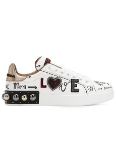 Dolce & Gabbana 20mm Portofino Studded Leather Sneakers