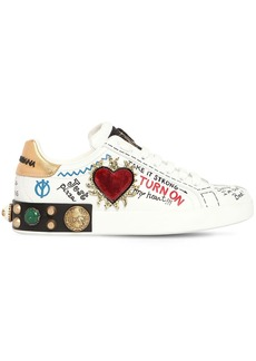 Dolce & Gabbana 30mm Portofino Heart Leather Sneakers