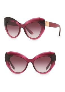 Dolce & Gabbana 52MM Faceted Cat Eye Sunglasses