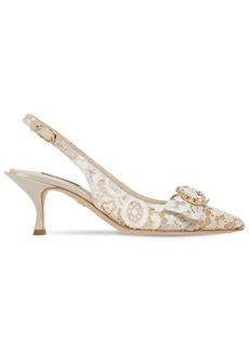 Dolce & Gabbana 60mm Lori Crystals Lace Slingback Pumps