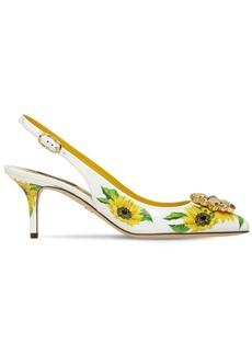 Dolce & Gabbana 60mm Sunflower Leather Slingbacks