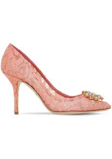 Dolce & Gabbana 90mm Bellucci Crystals Lace Pumps