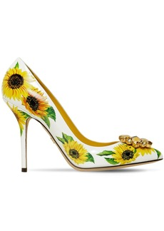 Dolce & Gabbana 90mm Embellished Sunflower Leather Pumps
