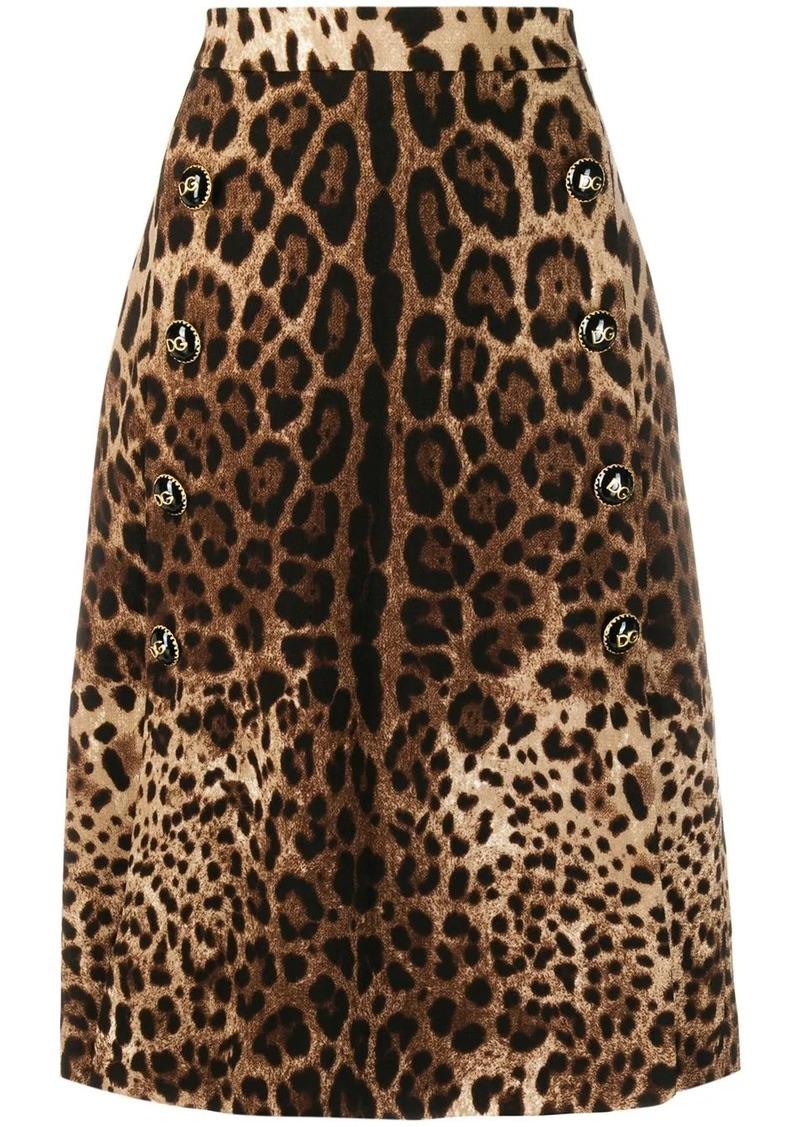 Dolce & Gabbana A-line leopard print skirt