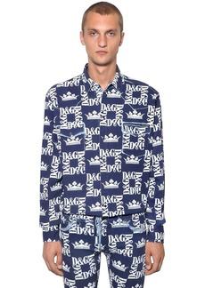 Dolce & Gabbana Allover Logo Cotton Denim Shirt