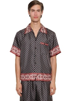 Dolce & Gabbana Allover Print Silk Twill Bowling Shirt