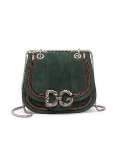 Dolce & Gabbana Amore Python Trim Suede Saddle Crossbody Bag