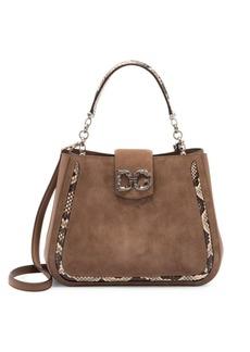 Dolce & Gabbana DG Amore Python-Trimmed Suede Top Handle Bag