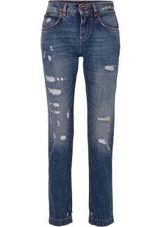 Dolce & Gabbana Appliquéd Distressed Slim Boyfriend Jeans