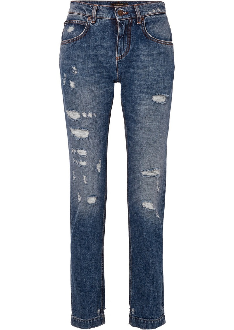 Dolce & Gabbana Appliquéd Distressed Slim Boyfriend Jeans